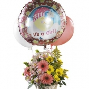 Baby Girl Bouquet with Balloons Intercat