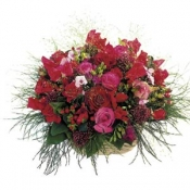 Basket of Mixed Flowers in Red Colour