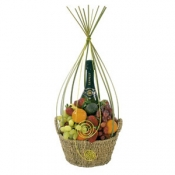 Fresh Fruit & Sparkling Wine Gift Basket