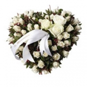 Funeral Spray heartshaped with white roses