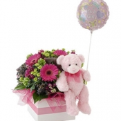 It's a Girl Flowers, Bear and Balloon