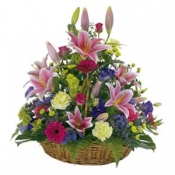 Large Basket of Bright Flowers