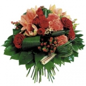 Round Bouquet in Red and Orange Colour